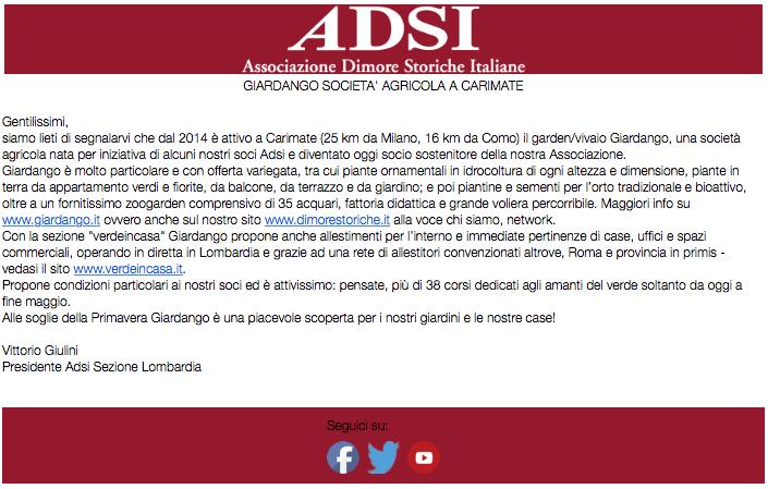 Associazione Dimore Storiche Italiane su Giardango